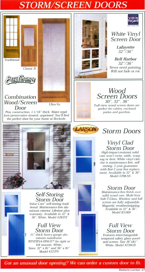 Beckerle Lumber - Screen Door - LARSON                                                           - SCREEN TIGHT                                                             - WOOD