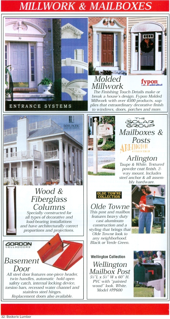 Beckerle Lumber - Molded Millwork - FYPON                                               Mailboxes       - SOLAR GROUP                                                 Basement Doors                                               Columns