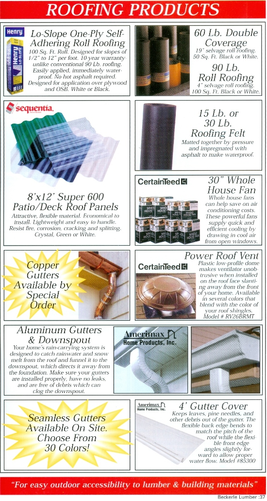 Beckerle Lumber - Roofing Products
