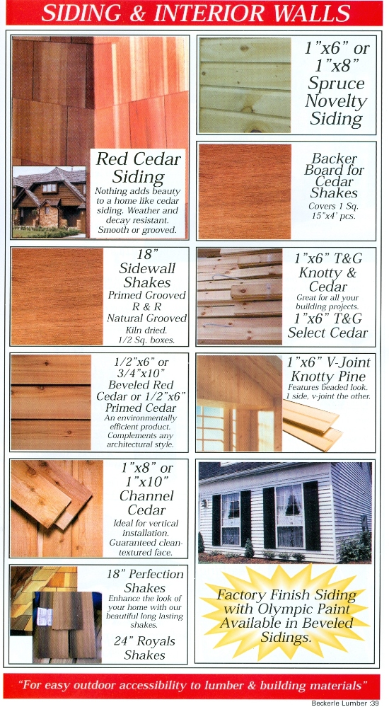 Beckerle Lumber Source Book - Siding & Interior Walls
