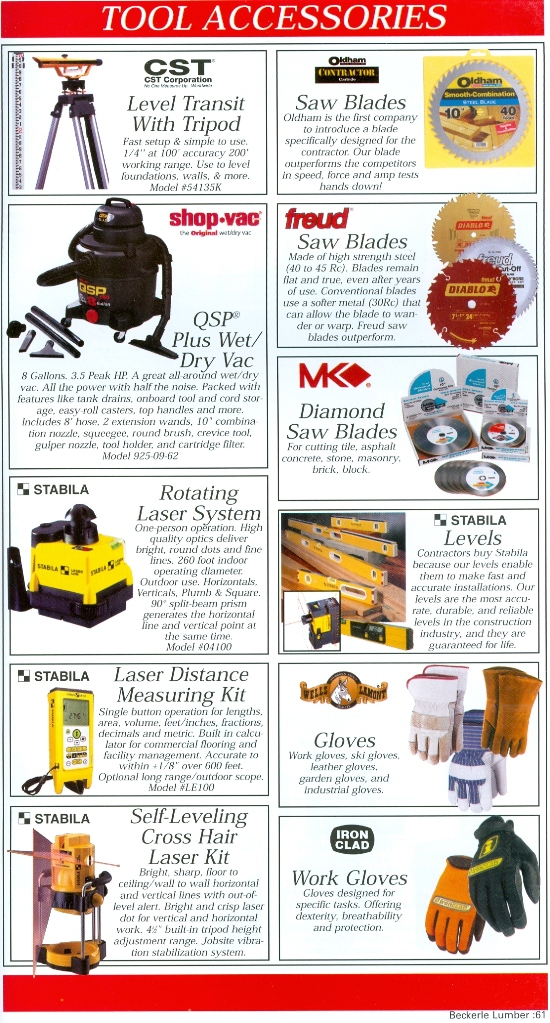 Beckerle Lumber Source Book - Tool Accessories                  & STABILA LASERS