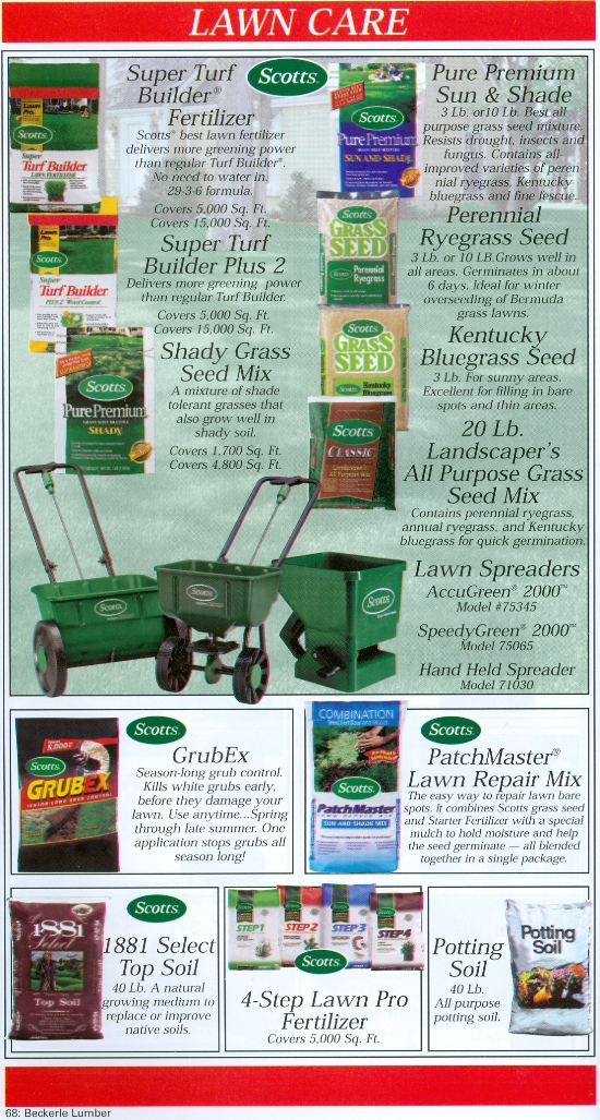 Beckerle Lumber - Source Book Volume - I - Lawn Care Supplies