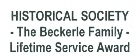 Beckerle Lumber - Rockland County Historical Society                                                  Lifetime Service Award.