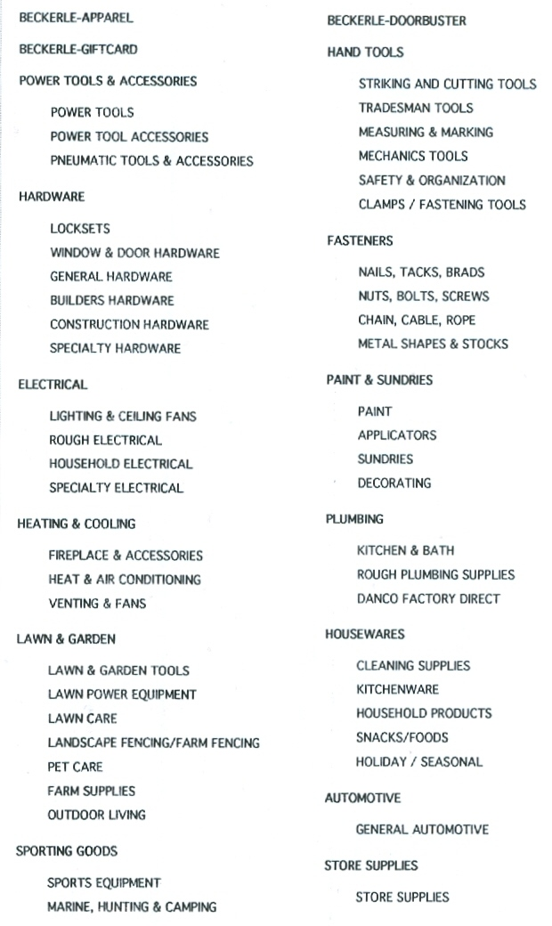 Beckerle Lumber -                             Hardware Catalog - Home