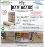 ram board product  Protect your project,  Heavy duty - re-usable. One roll equivalent to 10 Sheets of Masonite,  Covers 317 SQ FT.