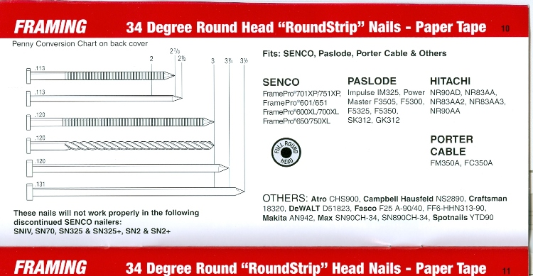 SENCO Paper Collated Framing Fasteners Cross Reference