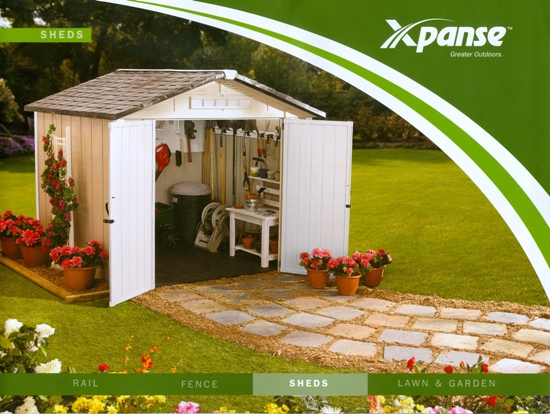 Beckerle lumber - Xpanse Outdoor Living - SHED supplier                                           8x6,8x8,8x10 SHED                                      PREMIER SERIES                              STOCKING: 8x8 TAN/WHITE SHED for $1297.00(storSHED8x8)