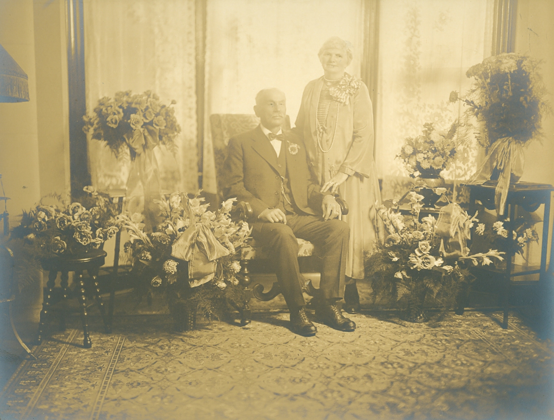 Philip Beckerle (b.1854-1939) with his spouse   Pauline Miller Beckerle (b.18??-1933)  Pearl River New York 1927