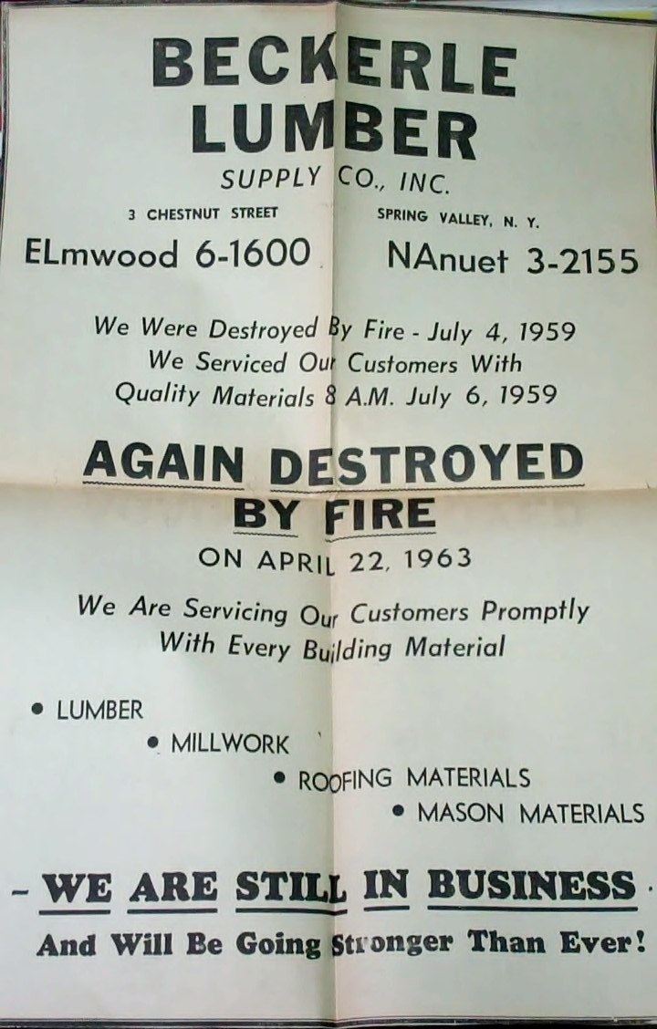 April 22nd 1963 AD regarding re-opening of beckerle lumber after fire