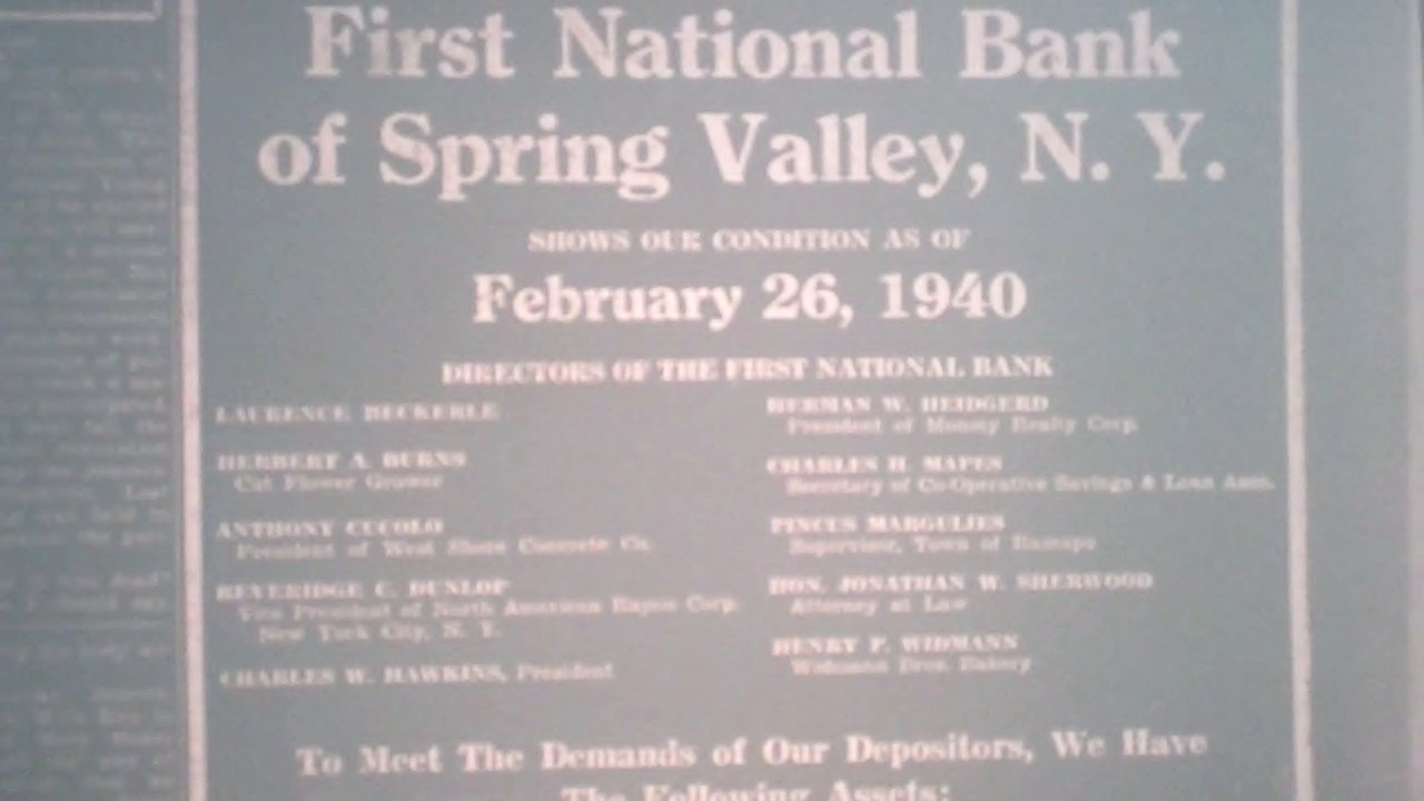 Rockland County Leader Article regarding Laurence Thomas Beckerle                Board of Director for the First National Bank in Spring Valley                   Feb 29 1940.
