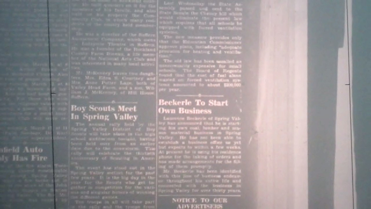 Rockland County Leader Article regarding Laurence Thomas Beckerle                   Feb 29 1940.
