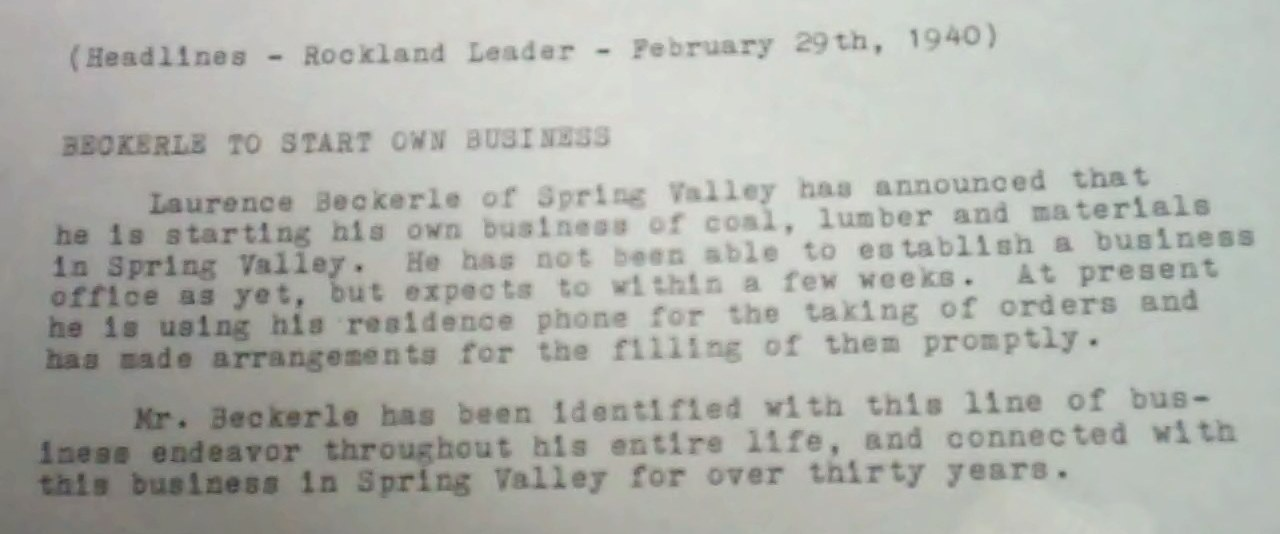 Rockland County Review Article text regarding Laurence Thomas Beckerle                   Feb 29 1940.
