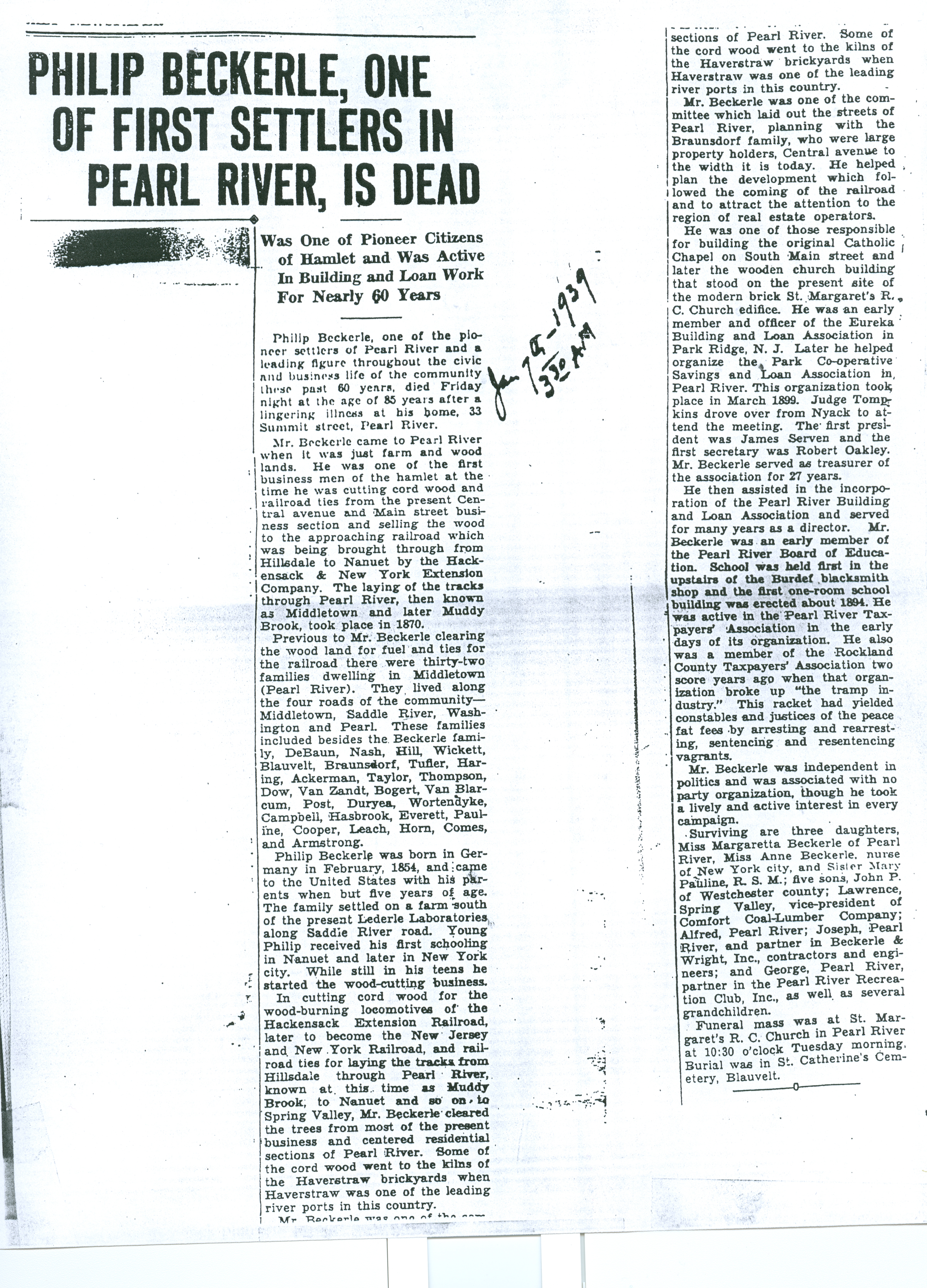 Philip Beckerle one of first settlers in Pearl River is dead: 7 Jan 1939 @3:30am